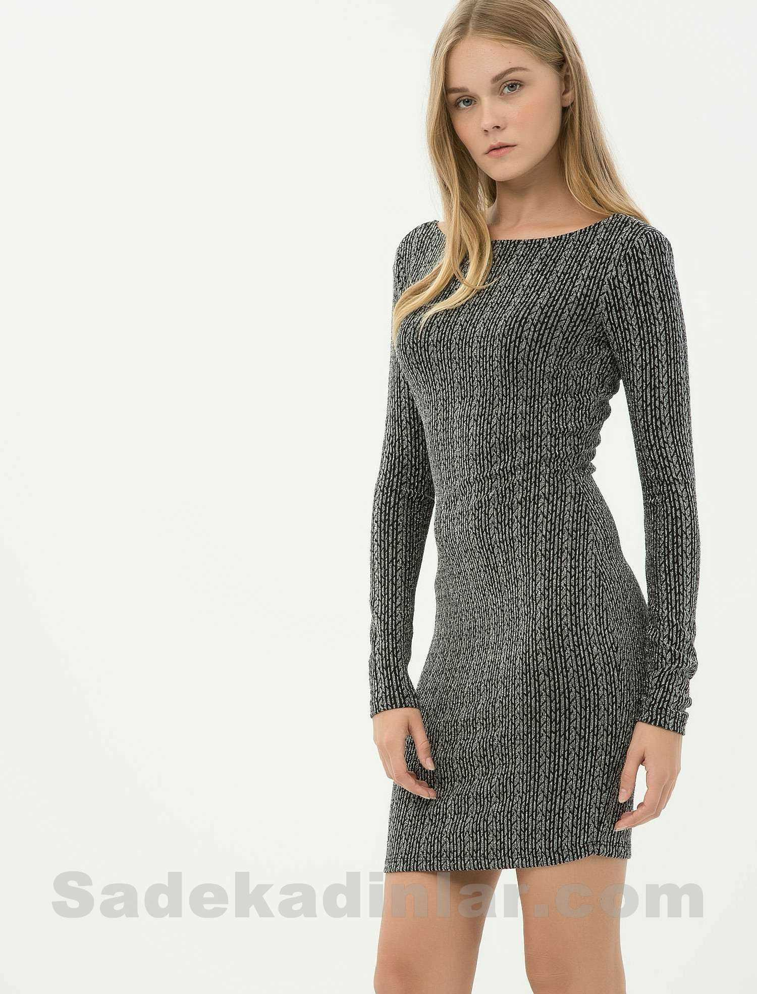 740b2386f8b14 Koton Elbise - Kayık Yaka Uzun Kollu Gümüş Renk Elbise Modelleri ...