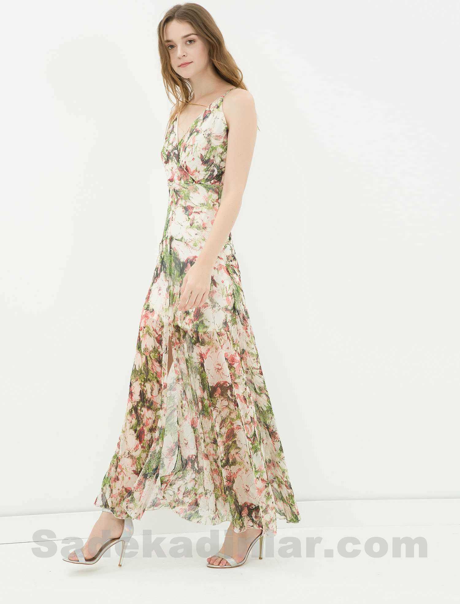 44810660cea17 Koton Elbise - V Yakalı Çiçek Desenli Uzun Elbise Modelleri ...