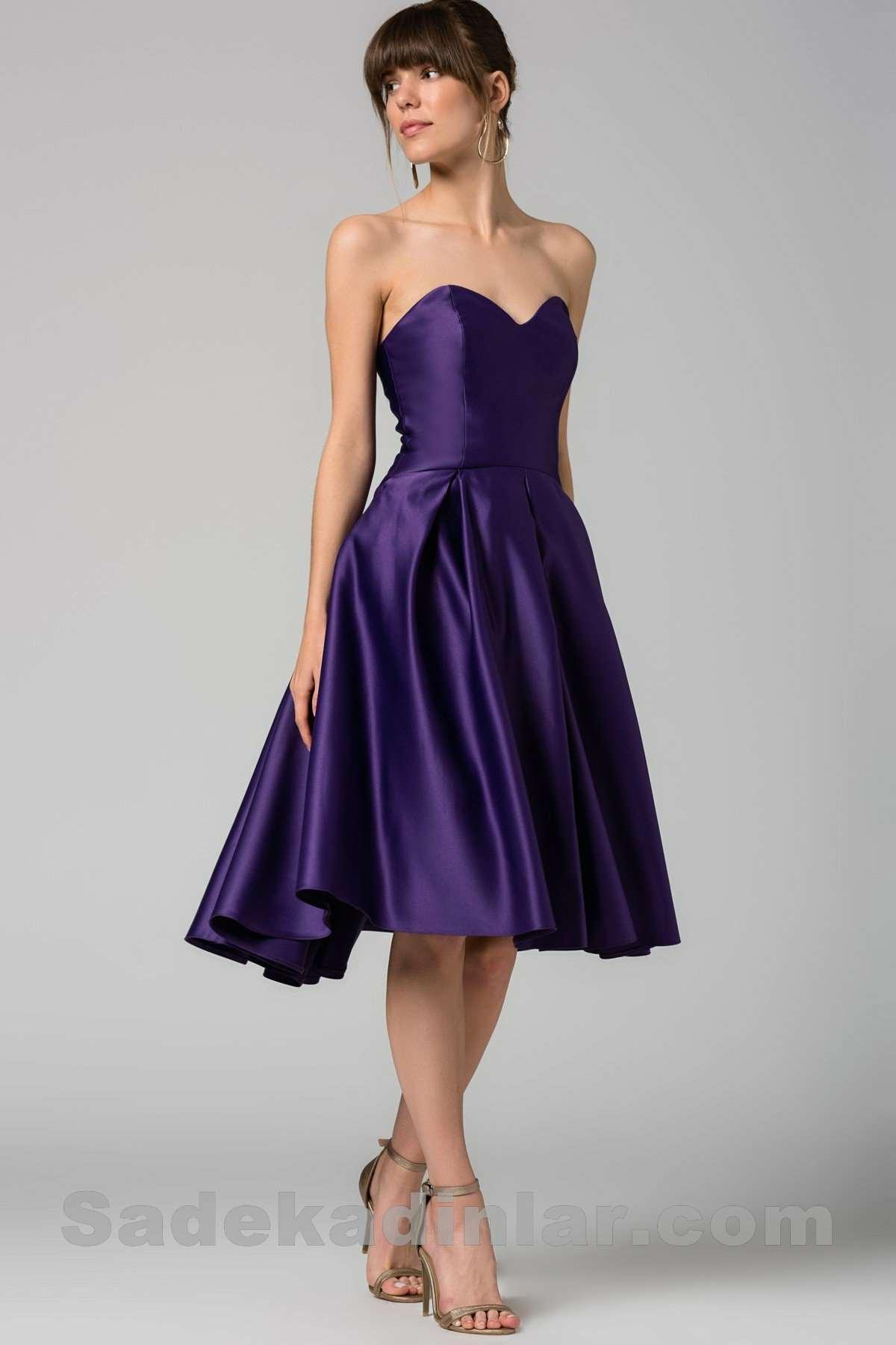 2007dc0f4b318 Saten Mor Renkli Mezuniyet Elbisesi | SadeKadınlar, Kıyafet Kombinleri