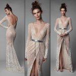 2018 Gece Elbiseleri Parlak Kumaştan Sırt Dekolteli Abiye Elbise Modelleri