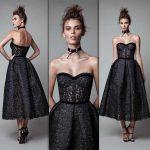 2018 Gece Elbiseleri Berta Straplez Siyah Dantel Abiye Elbise