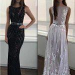 2018 Gece Elbiseleri Kemer Detaylı Şık Abiye Elbise Modelleri