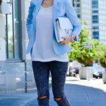 2019 2020 Sonbahar Kış Kombinleri - Bebek Mavisi Sokak Modası - Blazer Ceket, Bluz Club Monaco , kot Diesel, çanta Chanel