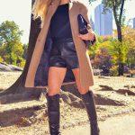 2019 2020 Sonbahar Kış Kombinleri - Botlar Gucci, Deri Şort D & G, ceket Zara, çanta Chanel