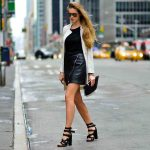 2019 2020 Sonbahar Kış Kombinleri - Deri Etek Beyaz Ceket Uyumu - Ceket H & M, çanta zimmerman, ayakkabı Alexander Wang, Gözlükler Givenchy