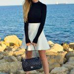 2019 2020 Sonbahar Kış Kombinleri - Kışlık Siyah Beyaz Kombinler - Ayakkabı Gucci, etek Zara, çanta Chanel, bodysiut h & m