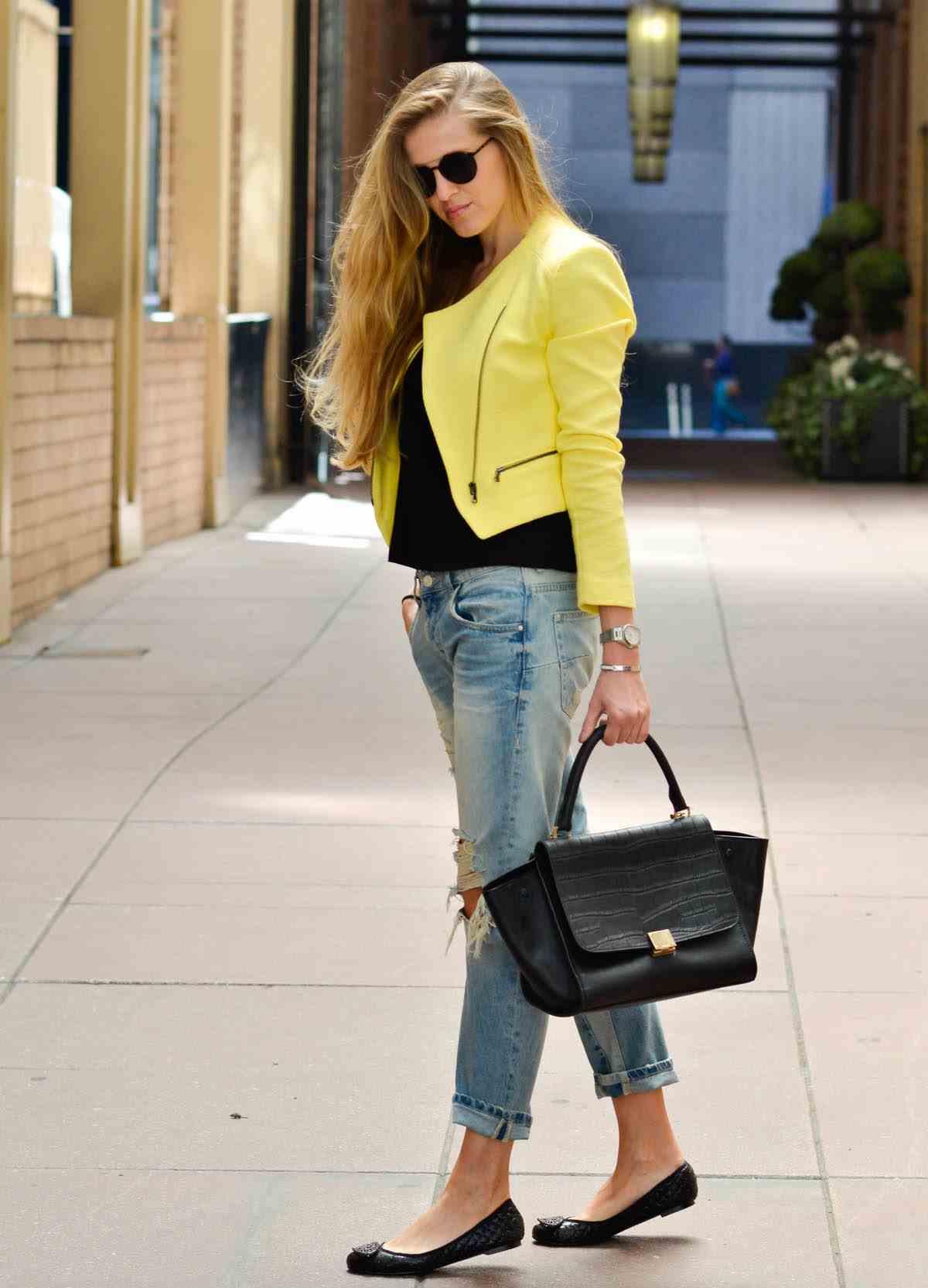 2019 2020 Sonbahar Kış Kombinleri - Kot Michael Kors, blazer ceket Zara, çanta Celine, Givenchy, babet, güneş gözlüğü FIBI & clo