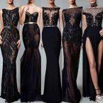 2018 Gece Elbiseleri Muhteşem Transparan Siyah Abiye Elbise Modelleri