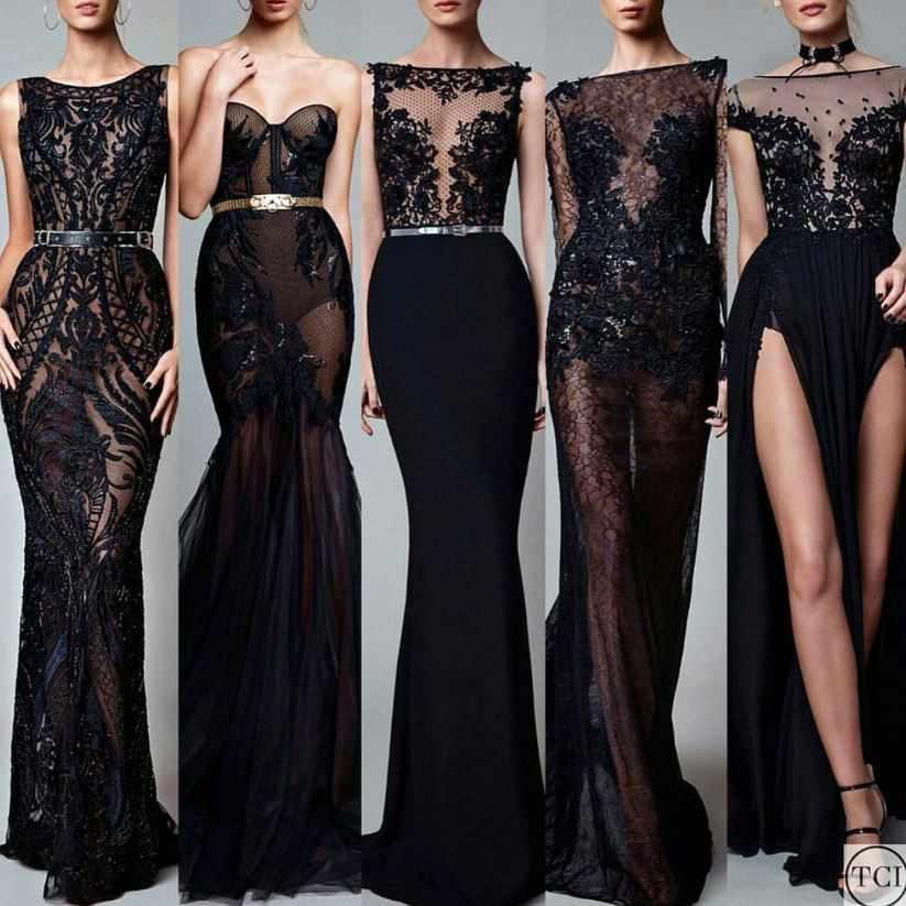 2021 Gece Elbiseleri Muhteşem Transparan Siyah Abiye Elbise ...