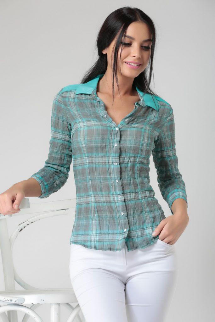 Aqua Rengi Kırışık Desenli Bayan Gömlek Modelleri