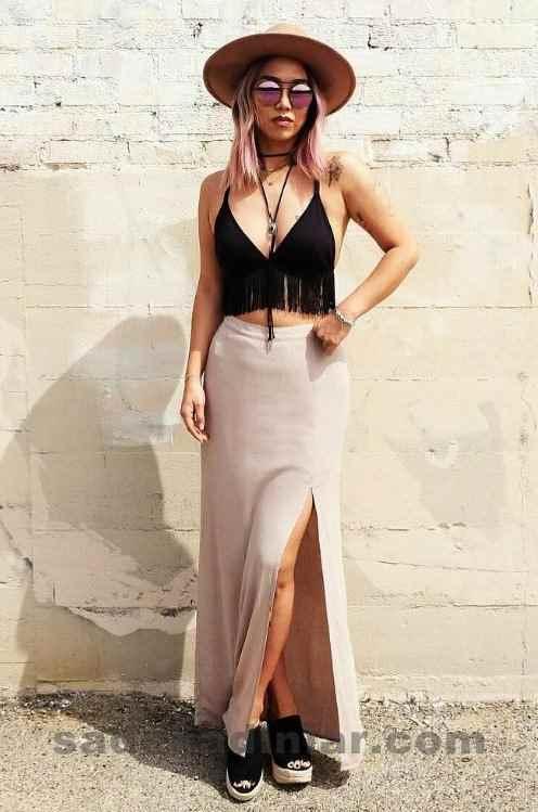 2019 Yazlık Kıyafet Kombinleri Askılı Büstiyer Bluz Ve Uzun Etek Kombini