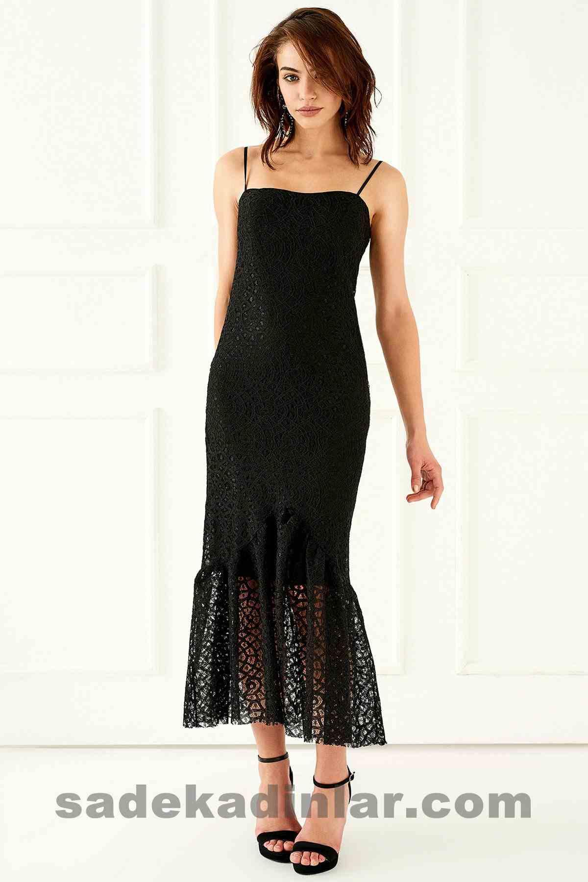 Abiye Elbise Modelleri Şık ve Güzel 2019 Gece Elbiseleri Askılı Uzun Siyah Dantel