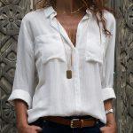 Beyaz Dökümlü Bayan Gömlek