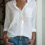 Beyaz Keten Bayan Gömlek Modelleri Şık Kombinler İçin