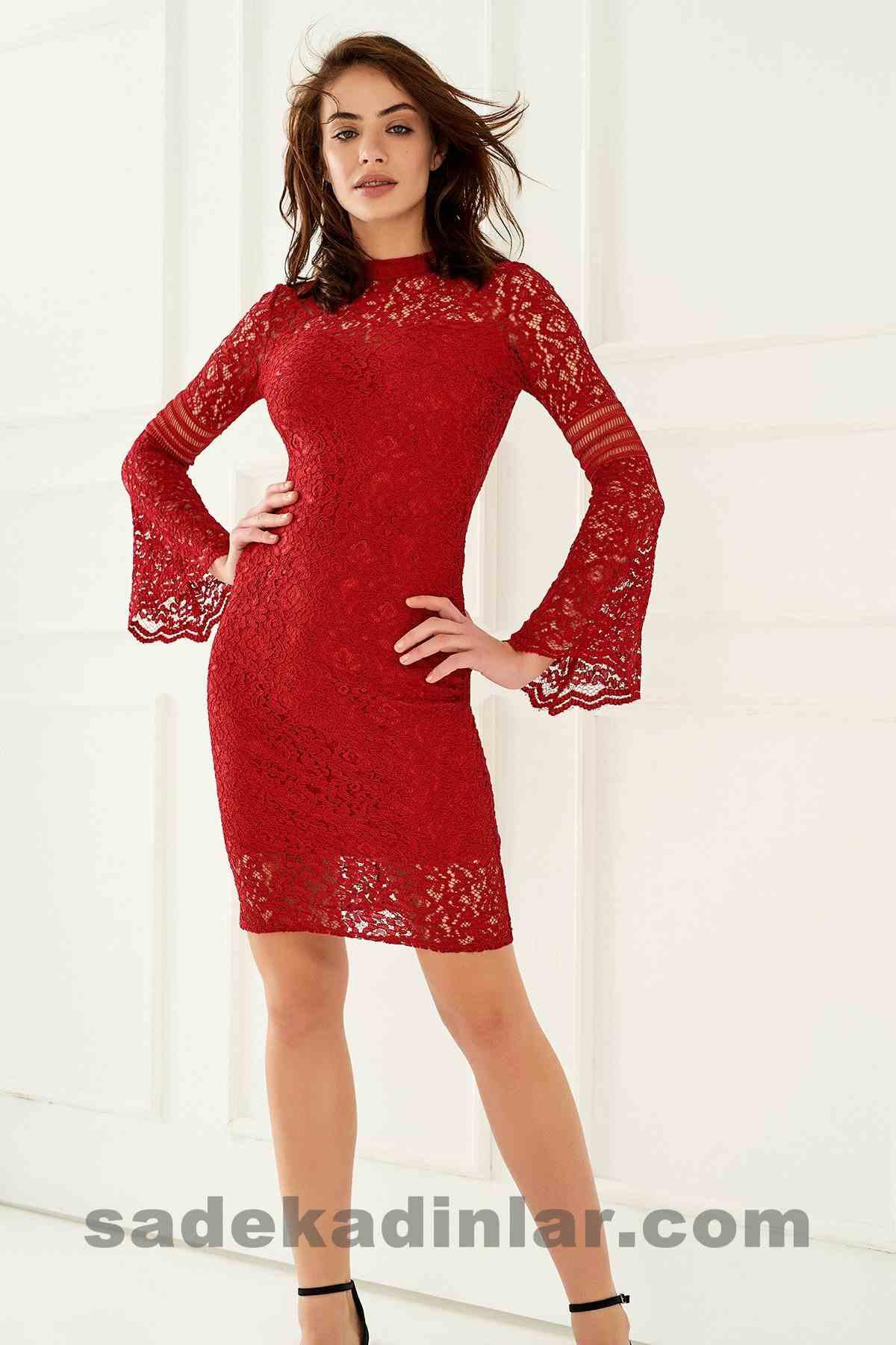 Abiye Elbise Modelleri Şık ve Güzel 2019 Gece Elbiseleri Bordo Kolu Volanlı Midi