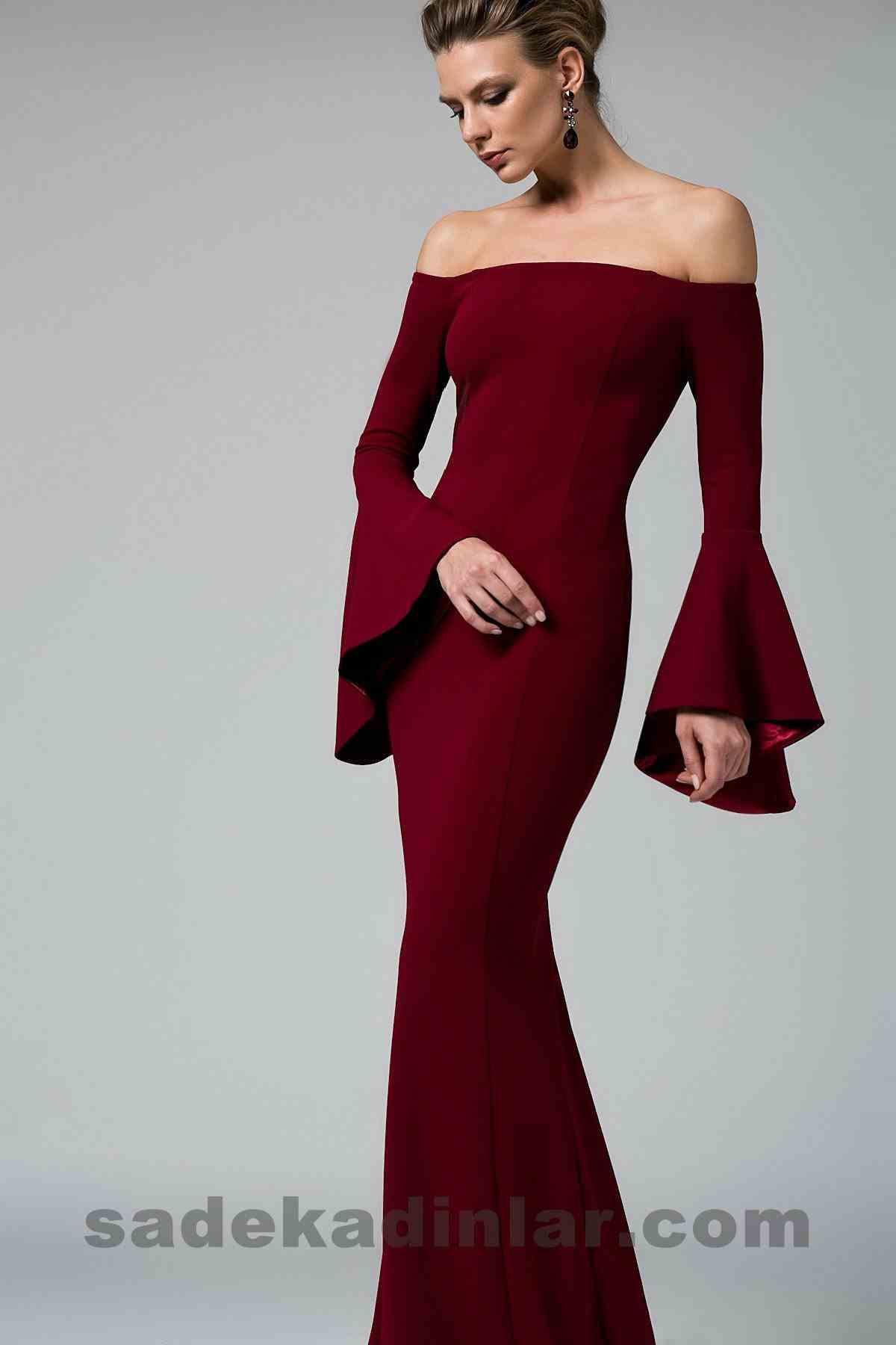 Abiye Elbise Modelleri Şık ve Güzel 2019 Gece Elbiseleri Bordo Omzu Açık Uzun Balık Model