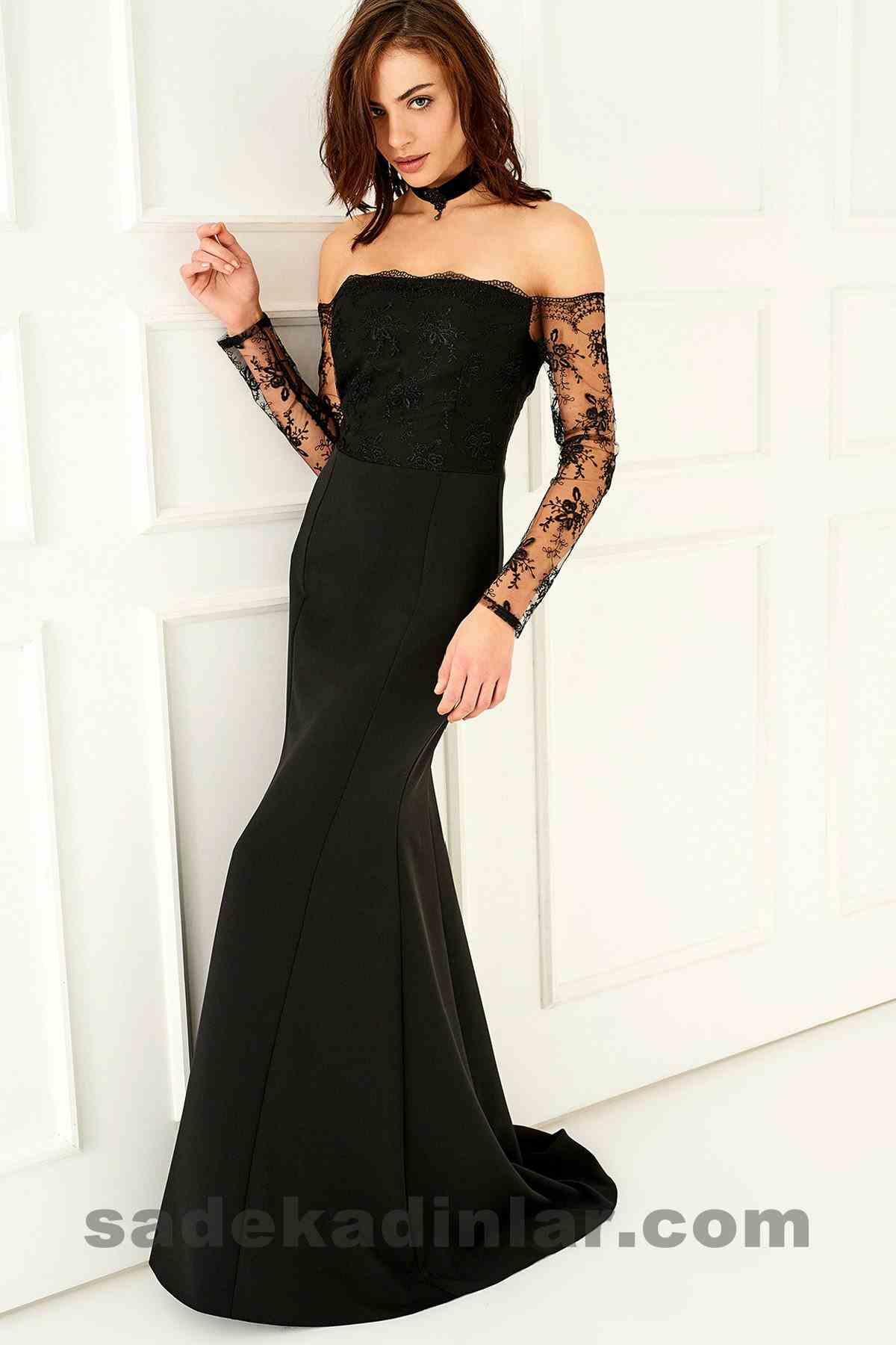 Abiye Elbise Modelleri Şık ve Güzel 2019 Gece Elbiseleri Carmen Yaka Siyah Dantel detaylı Uzun