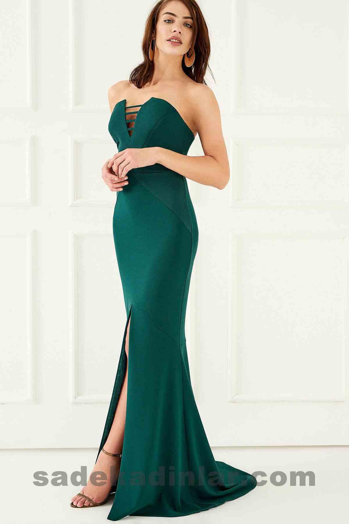 Abiye Elbise Modelleri Şık ve Güzel 2019 Gece Elbiseleri Göğüs Dekolteli Yeşil Yırtmaçlı