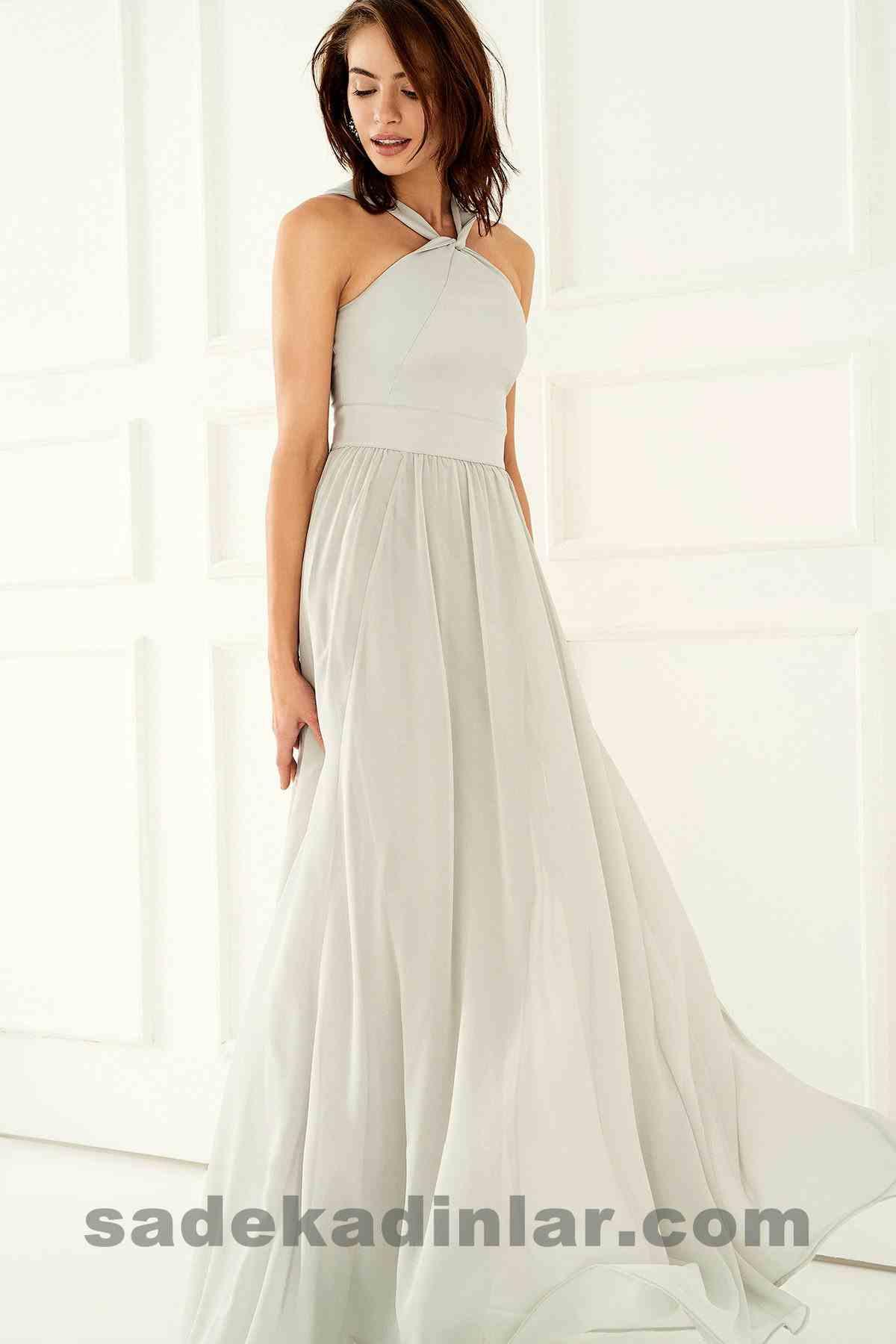Abiye Elbise Modelleri Şık ve Güzel 2019 Gece Elbiseleri Gri Boyundan Bağlamalı Uzun