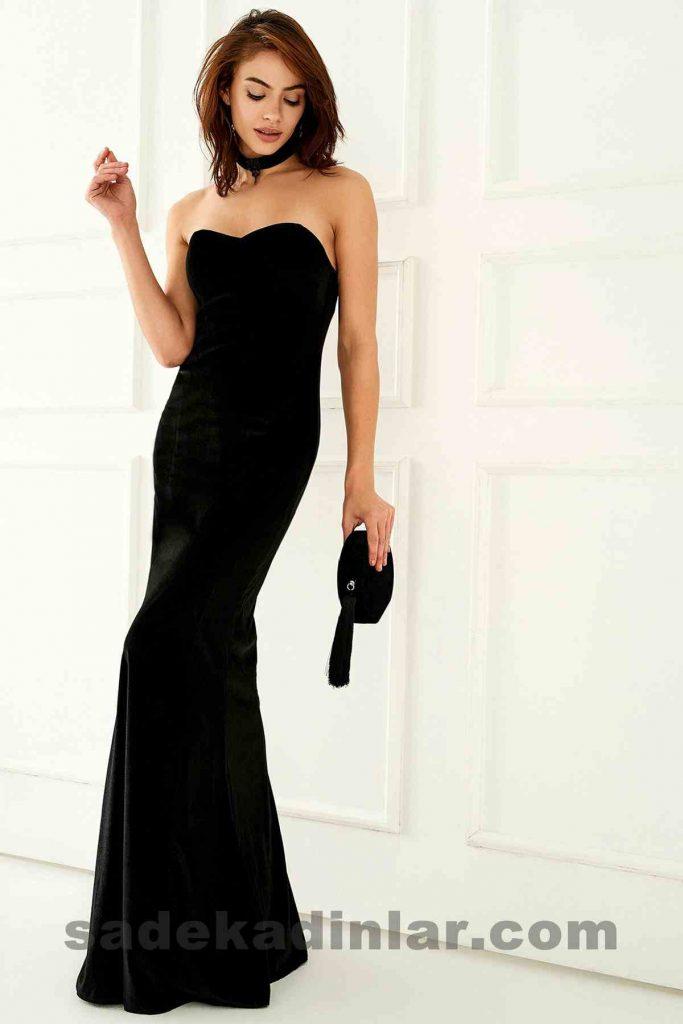 Abiye Elbise Modelleri Şık ve Güzel 2019 Gece Elbiseleri Balık Model Straplez Siyah