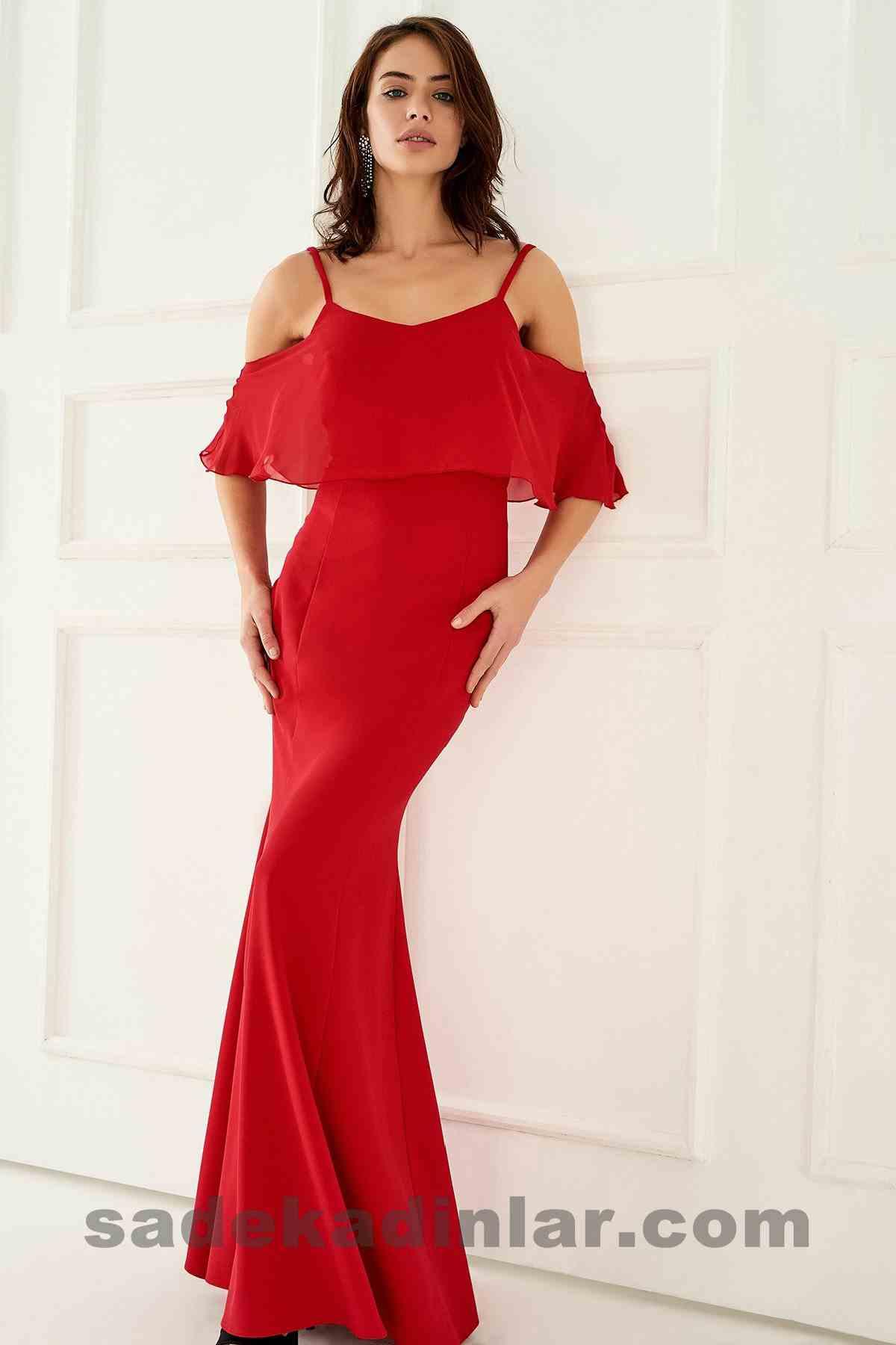 Kırmızı Düşük Omuz Abiye Elbise Modelleri 2018