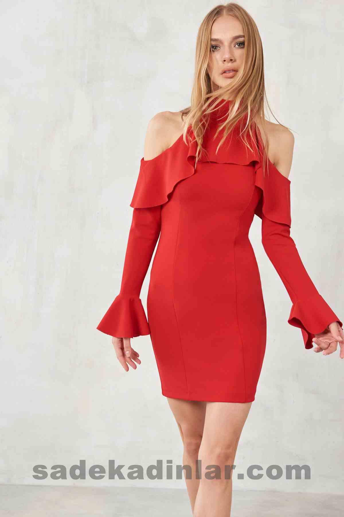 Abiye Elbise Modelleri Şık ve Güzel 2019 Gece Elbiseleri Kırmızı Omuz Dekolteli Kısa