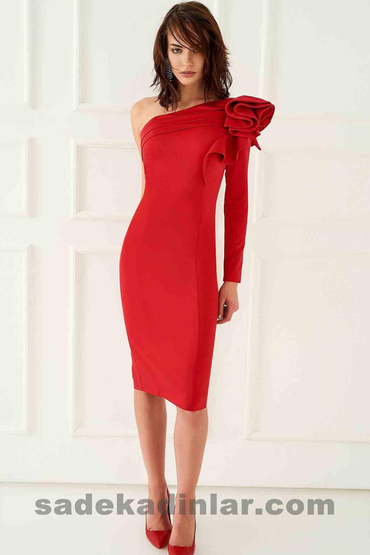 Abiye Elbise Modelleri Şık ve Güzel 2019 Gece Elbiseleri Kırmızı Tek Omuz Midi