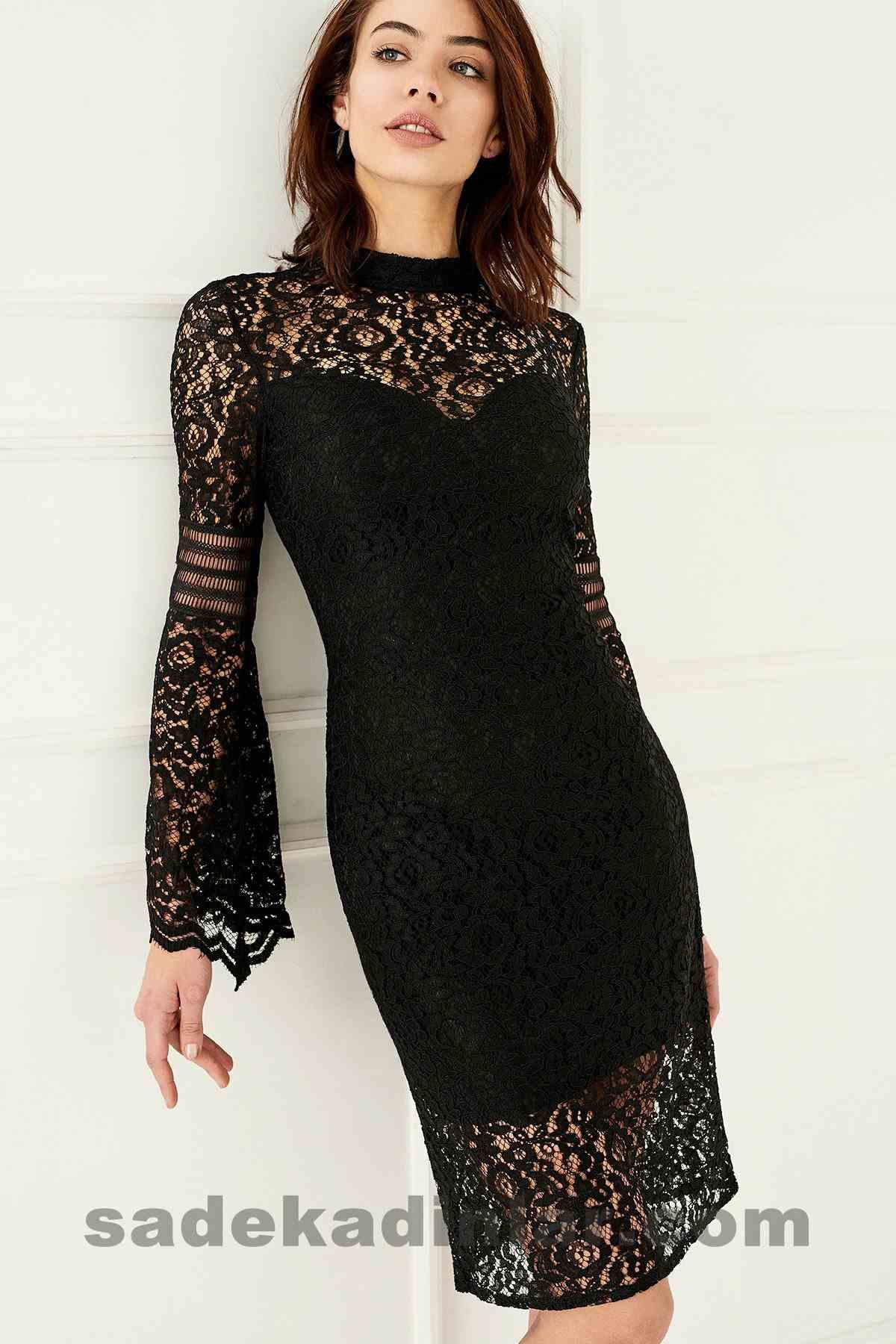 Abiye Elbise Modelleri Şık ve Güzel 2019 Gece Elbiseleri Kolları Dantel Detaylı Siyah