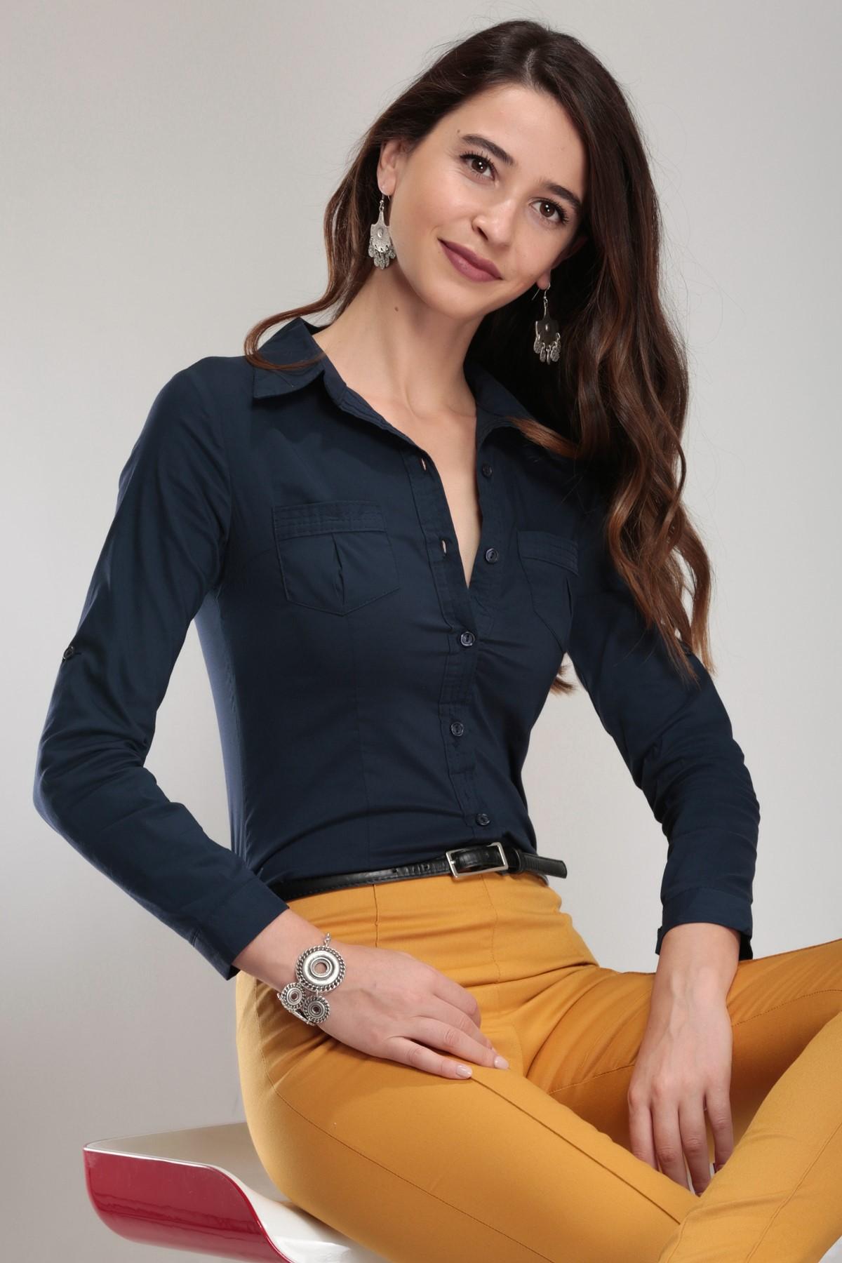 Bayan Çizgili Gömlek Modelleri 2019