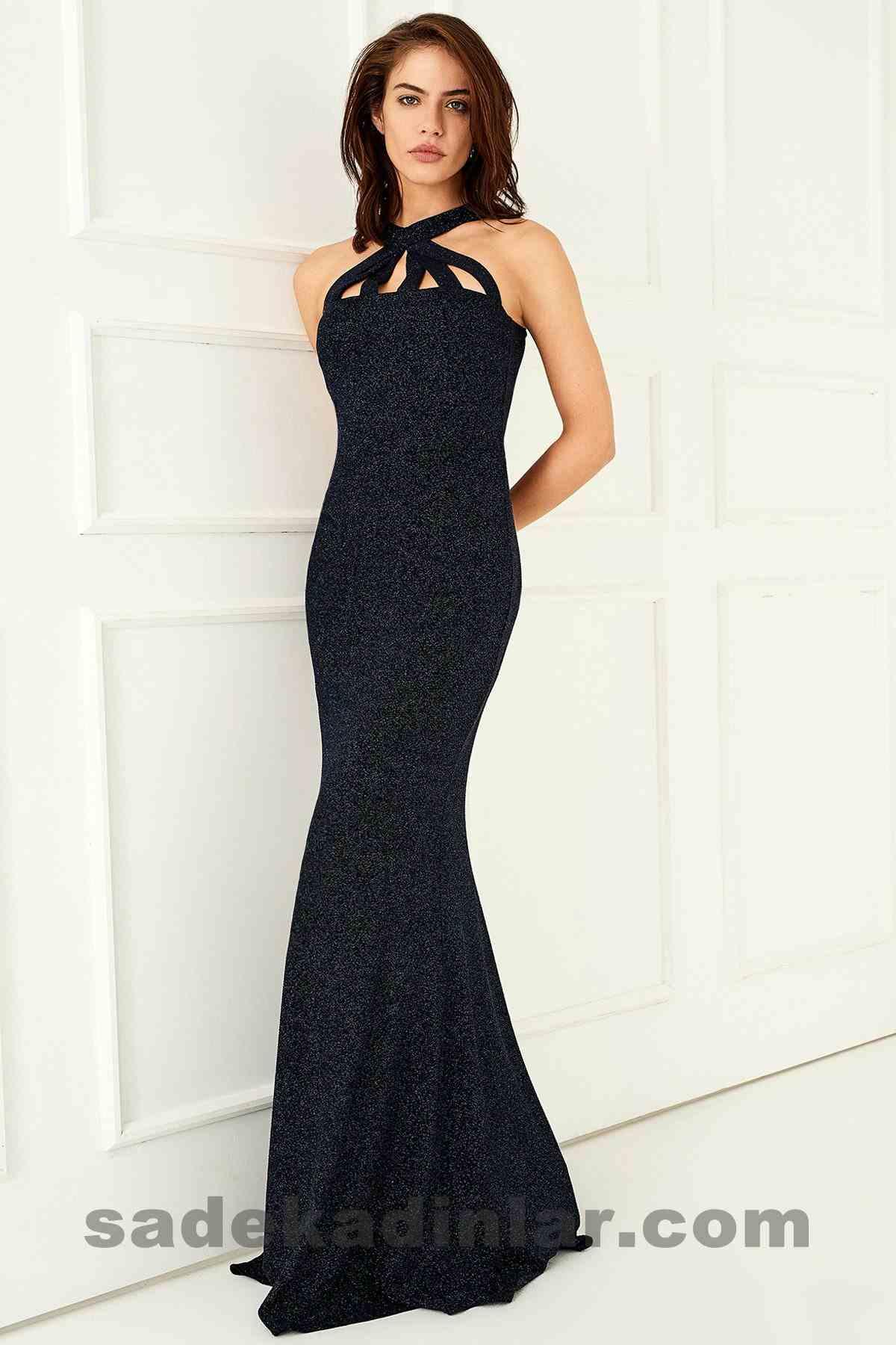 Abiye Elbise Modelleri Şık ve Güzel 2019 Gece Elbiseleri Lacivert Parıltı Detaylı