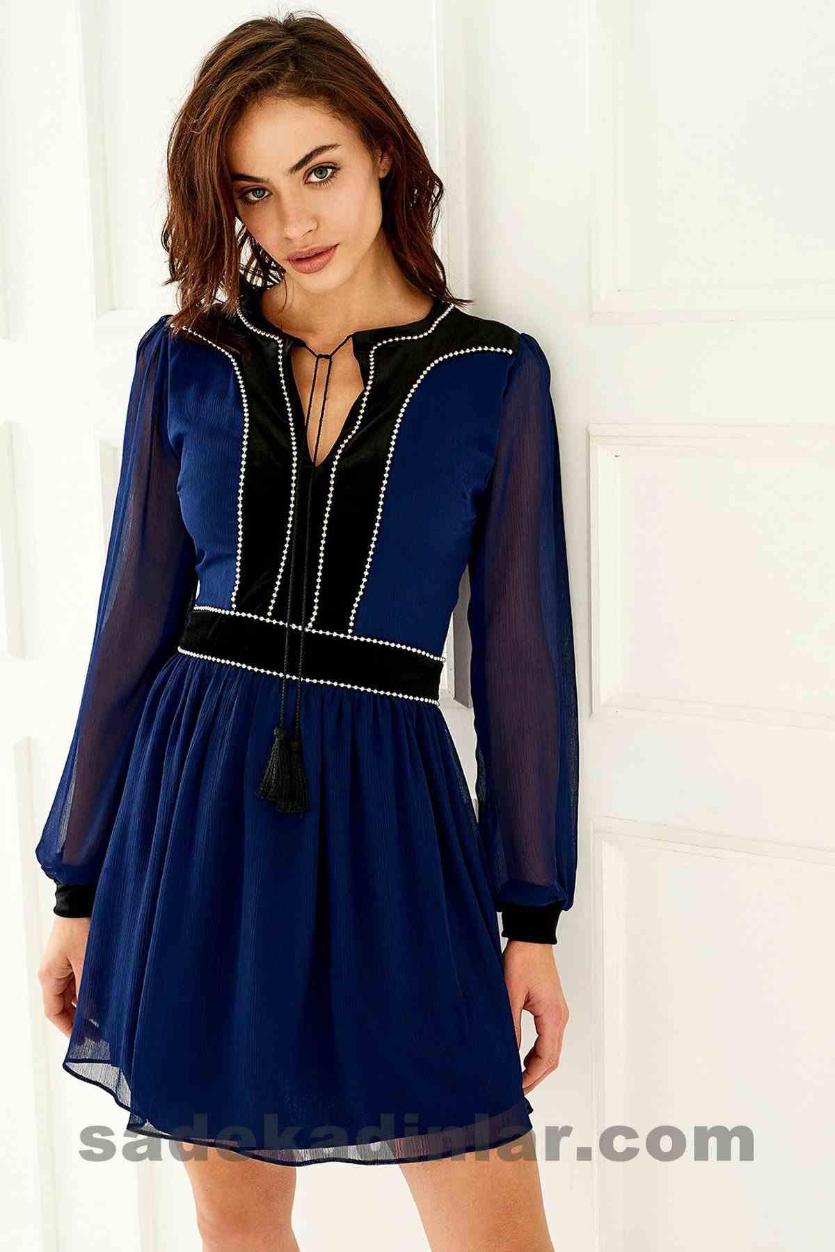 Abiye Elbise Modelleri Şık ve Güzel 2019 Gece Elbiseleri Lacivert Siyah Bantlı Kısa