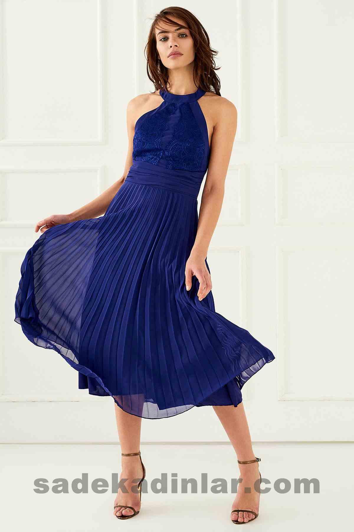 Abiye Elbise Modelleri Şık ve Güzel 2019 Gece Elbiseleri Mor Piliseli Uzun