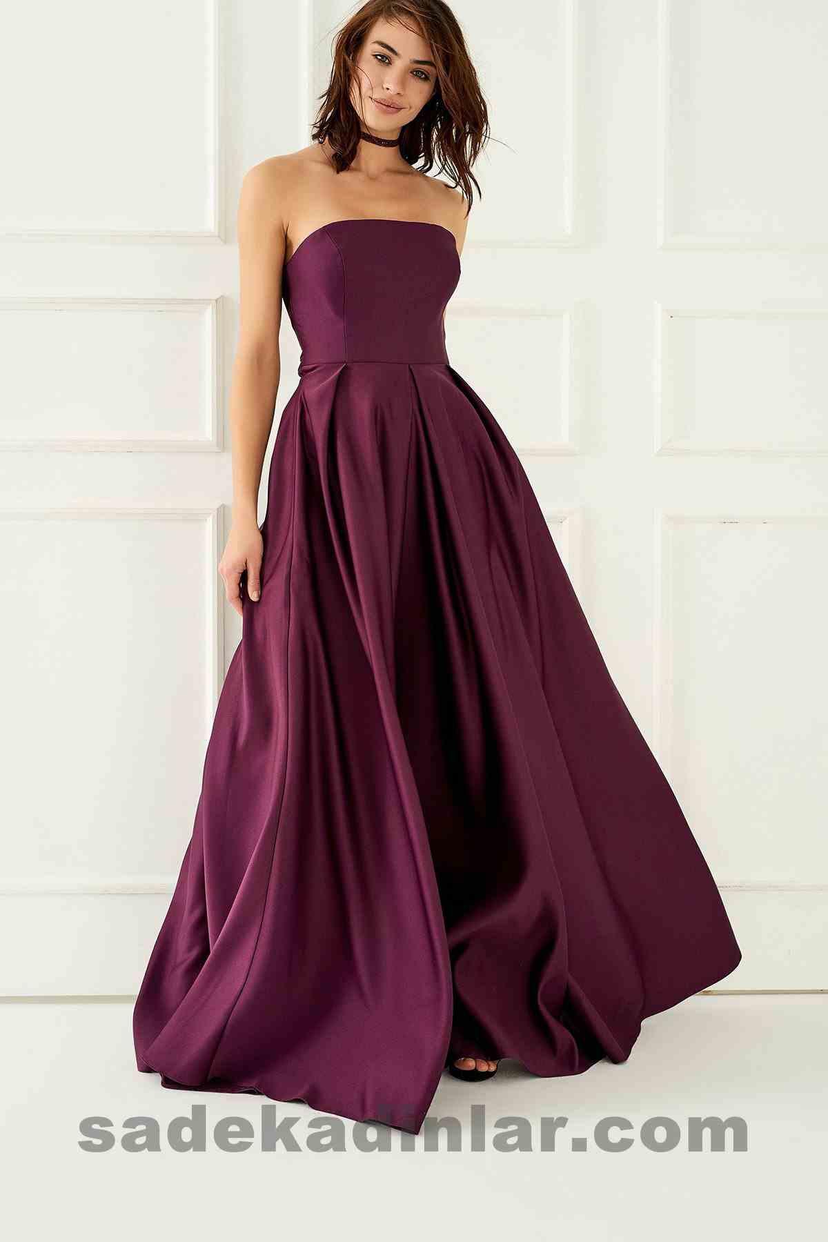 a9b5c726665f8 Abiye Elbise Modelleri Şık ve Güzel 2019 Gece Elbiseleri Mürdüm Straplez  Prenses Model · «