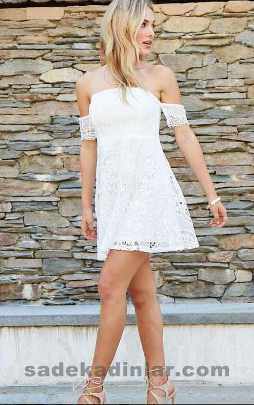 2019 Yazlık Elbise Modelleri ve Şık Kıyafet Kombinleri Omuzları Açık Kısa Dantelli Beyaz Elbise