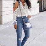 2019 Yazlık Kıyafet Kombinleri Omzu Açık Bluz ve Kot Pantolon Kombinleri