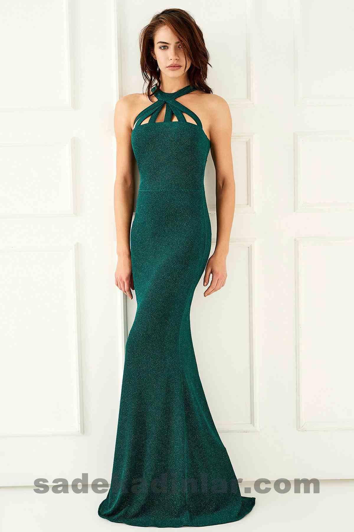 Abiye Elbise Modelleri Şık ve Güzel 2019 Gece Elbiseleri Parıltılı Yeşil Uzun
