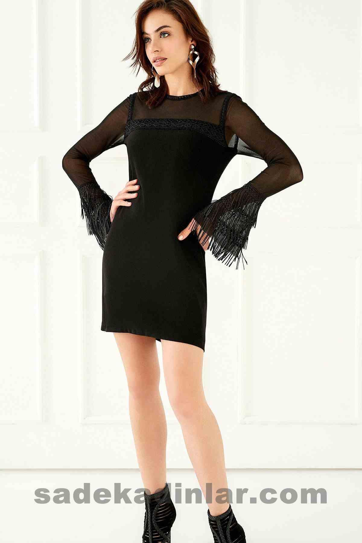 Abiye Elbise Modelleri Şık ve Güzel 2019 Gece Elbiseleri Püskül Detaylı Siyah Midi