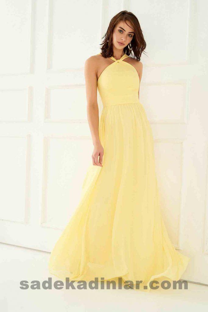 Abiye Elbise Modelleri Şık ve Güzel 2019 Gece Elbiseleri Sarı Boyundan Bağlamalı