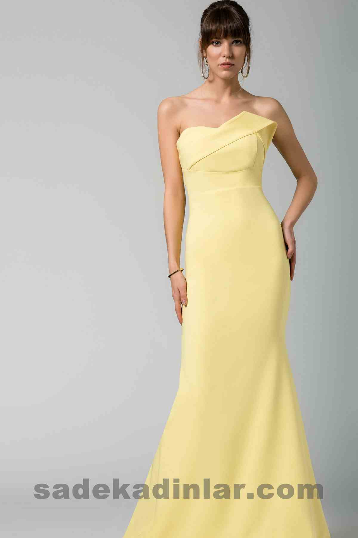 Abiye Elbise Modelleri Şık ve Güzel 2019 Gece Elbiseleri Sarı Straplez