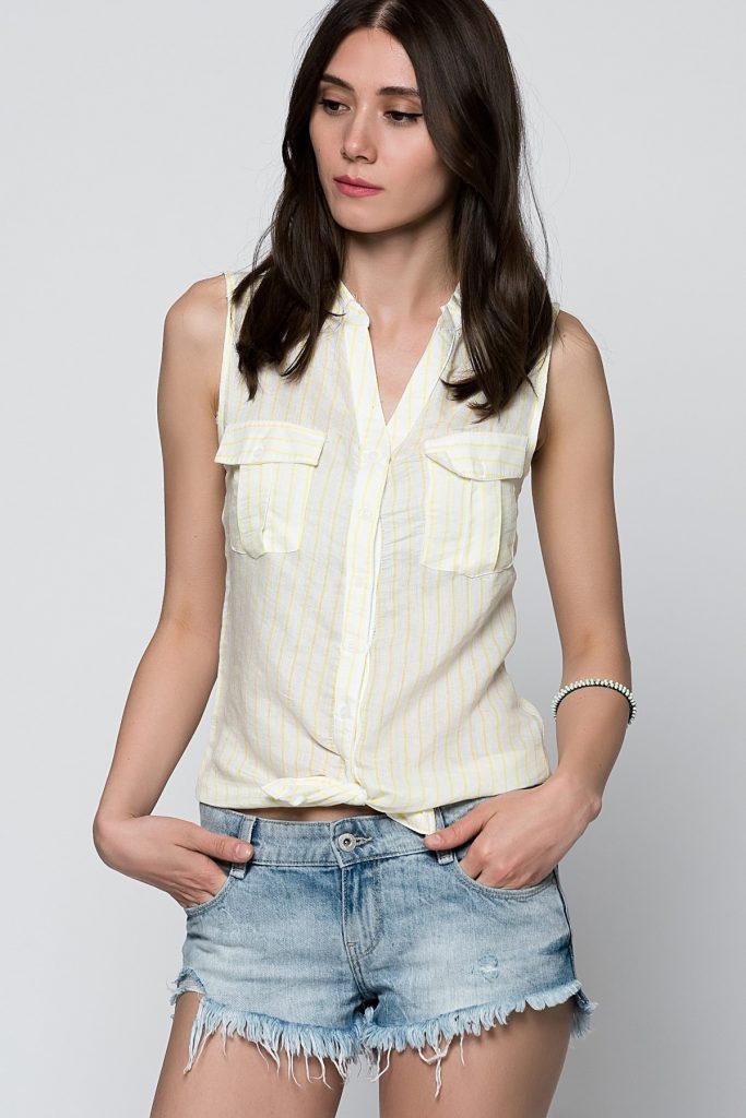 Sarı çizgili Sıfır Kol 2019 Bayan Gömlek Modelleri Şık Kombinler İçin