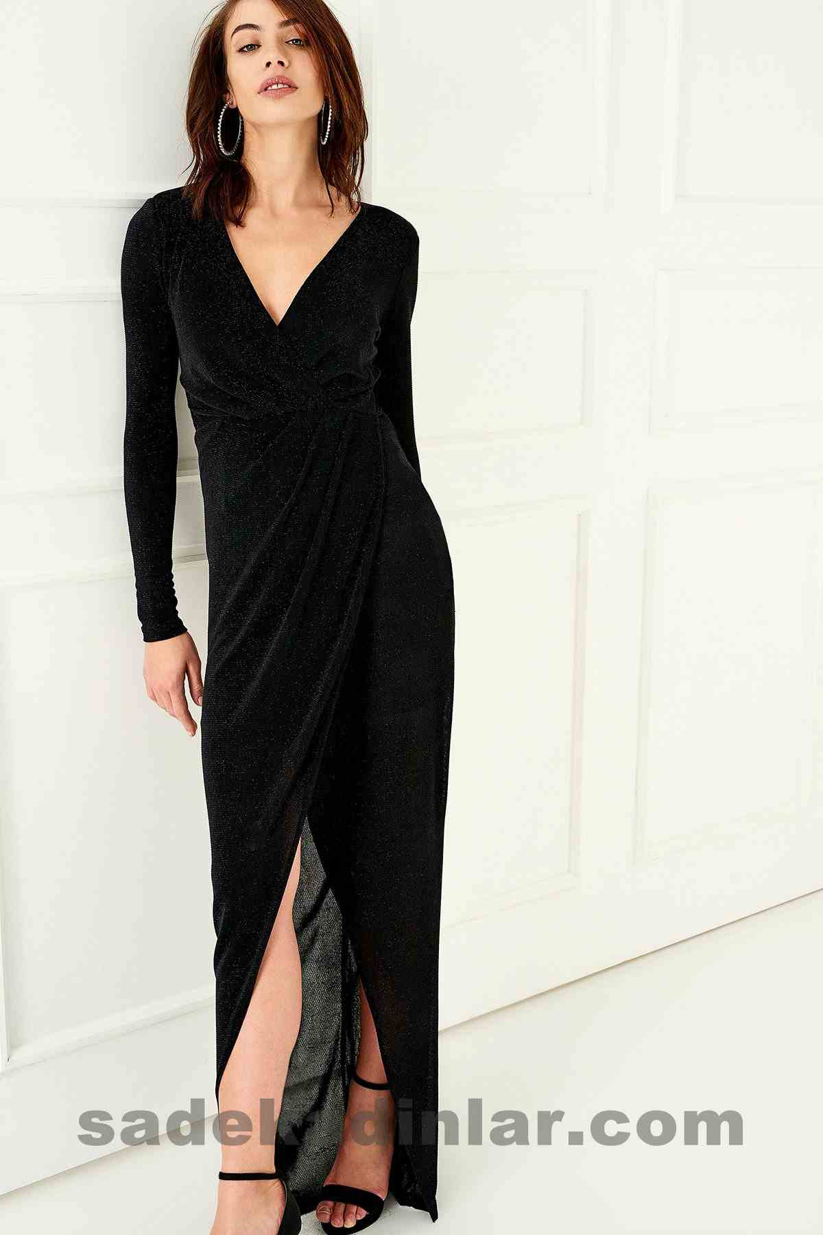 Abiye Elbise Modelleri Şık ve Güzel 2019 Gece Elbiseleri Simli Siyah Uzun Yırtmaçlı