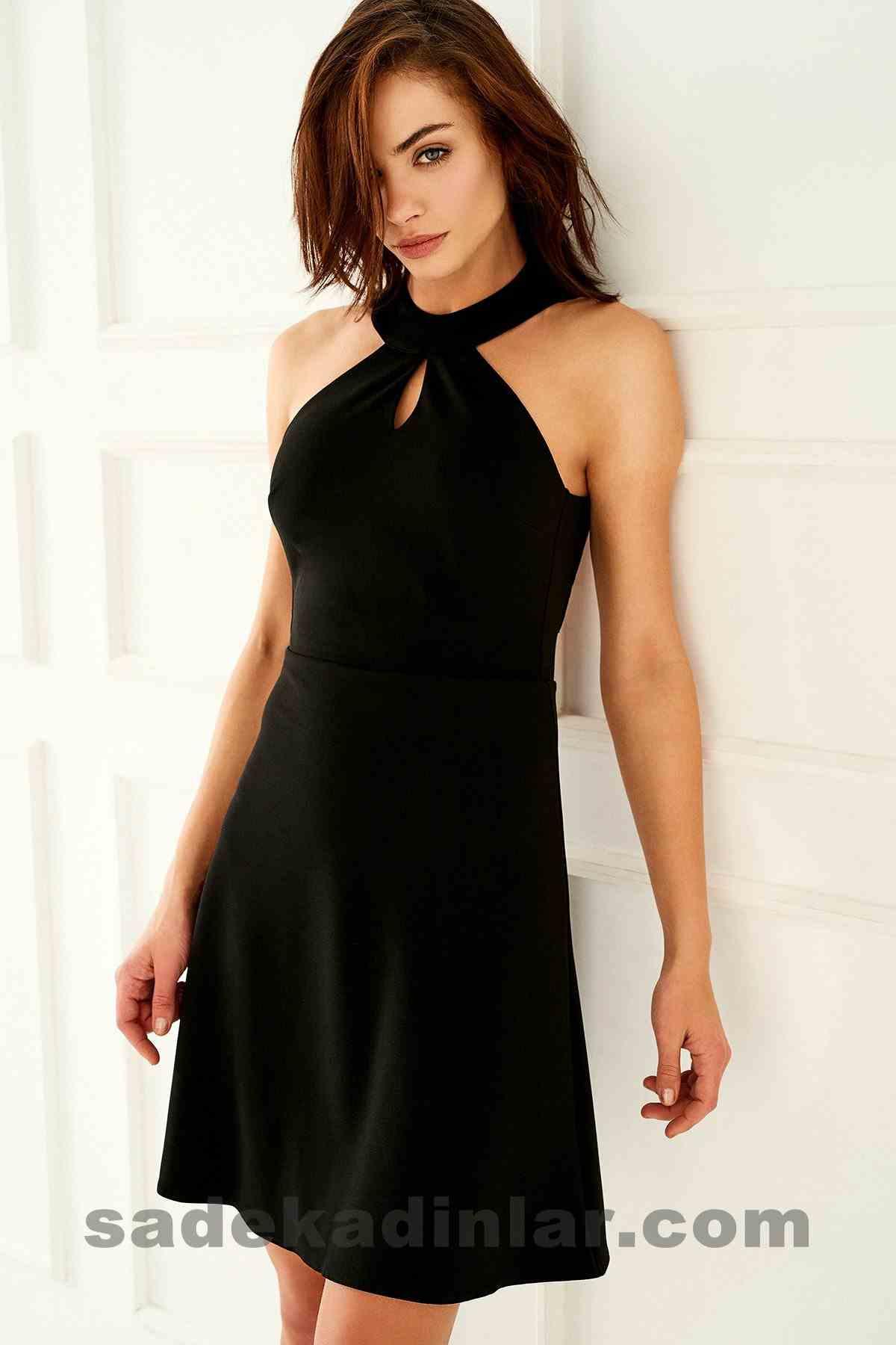 Abiye Elbise Modelleri Şık ve Güzel 2019 Gece Elbiseleri Sırt Dekolteli Dantel Detaylı Siyah