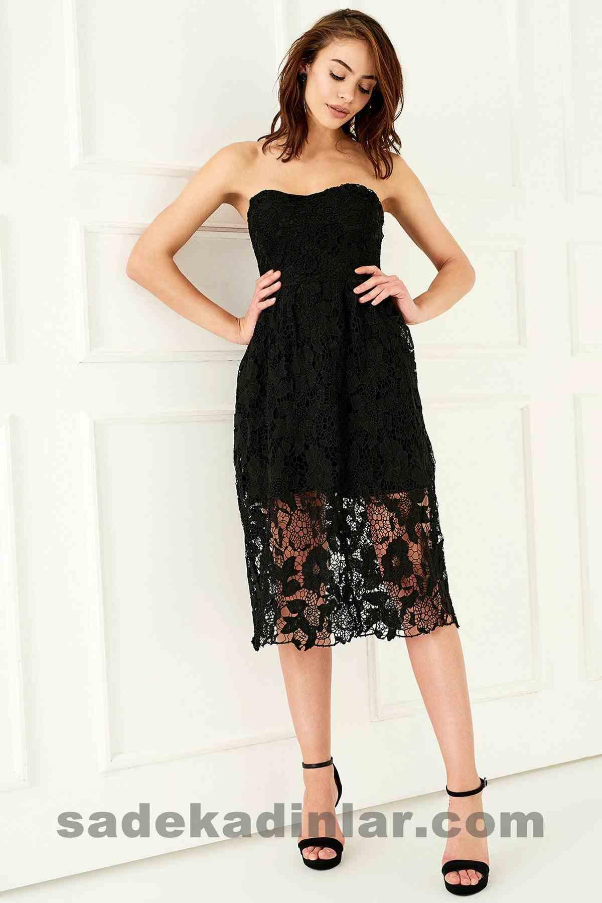 Abiye Elbise Modelleri Şık ve Güzel 2019 Gece Elbiseleri Straplez Siyah Dantelli