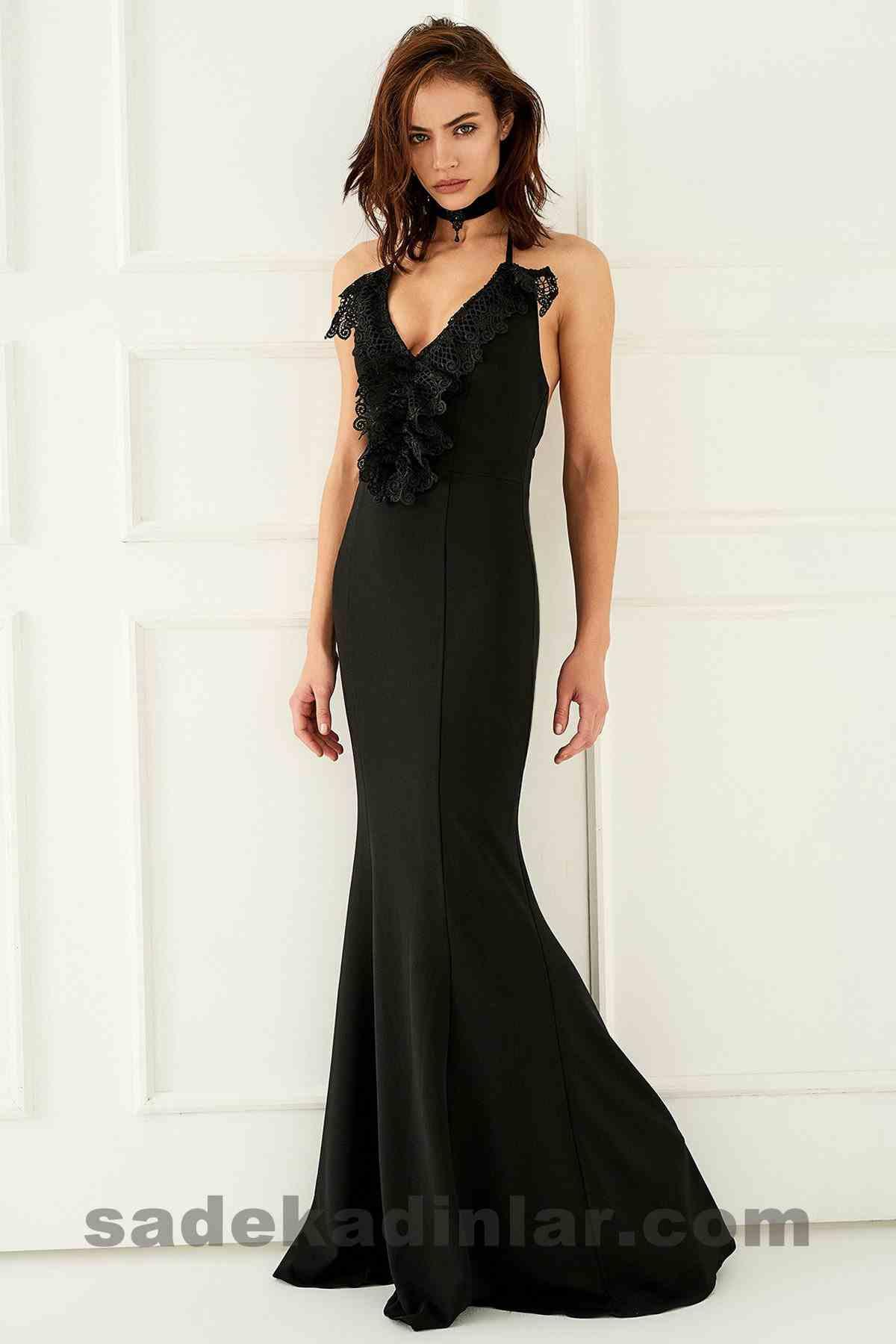 Abiye Elbise Modelleri Şık ve Güzel 2019 Gece Elbiseleri Yakası Dantel Siyah Uzun