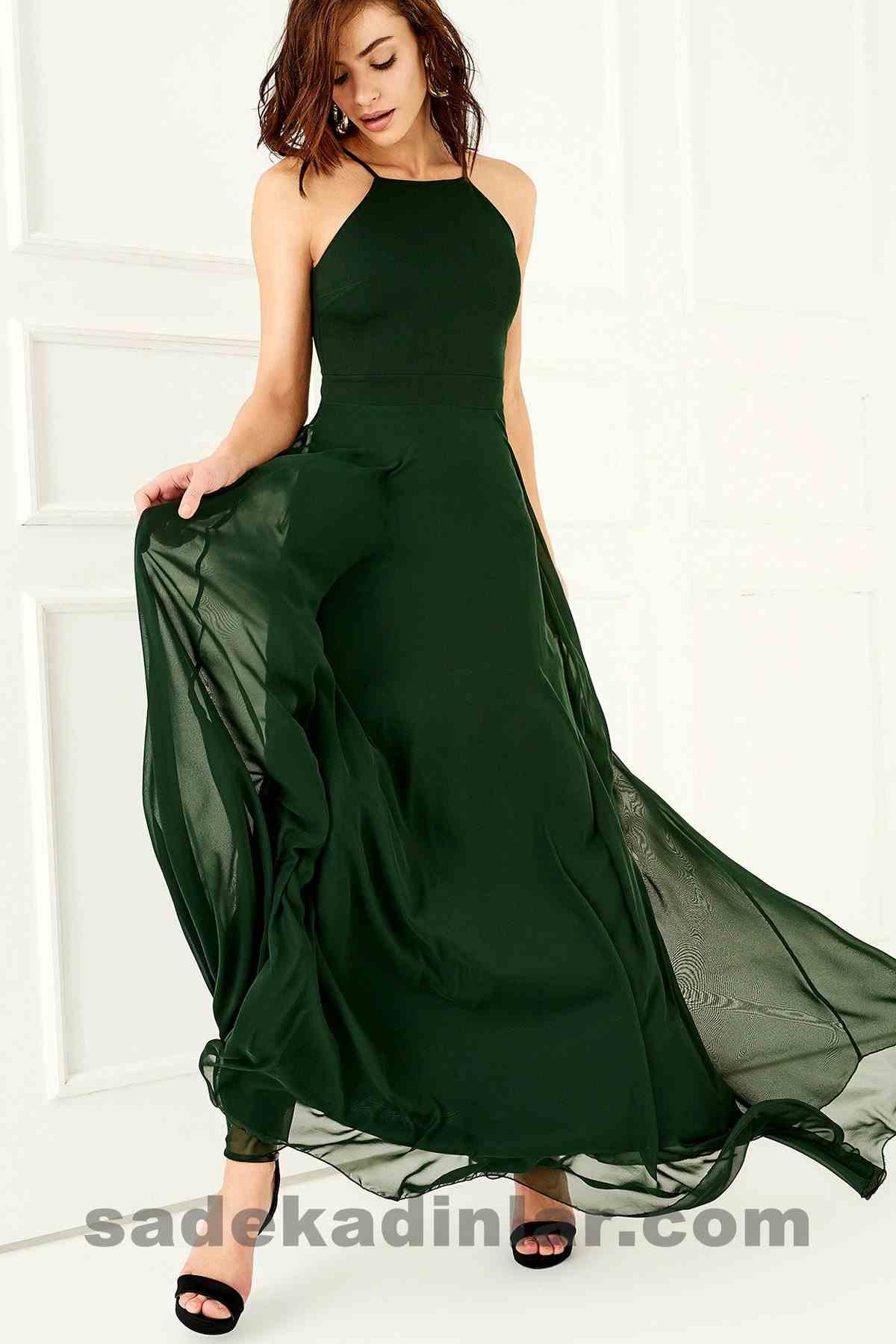 Abiye Elbise Modelleri Şık ve Güzel 2019 Gece Elbiseleri Zümrüt Yeşili
