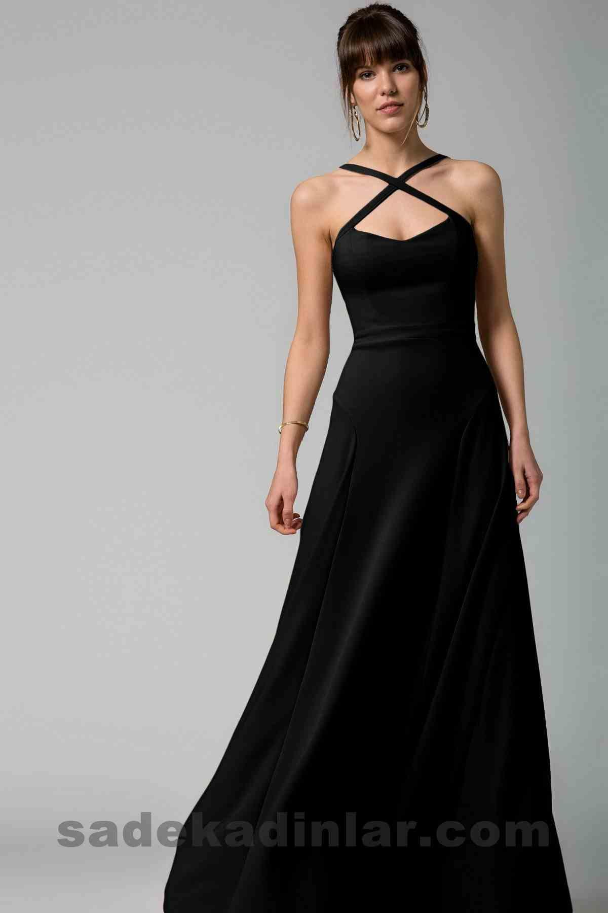Abiye Elbise Modelleri Şık ve Güzel 2019 Gece Elbiseleri Çapraz Askılı Siyah Sırt Dekolteli