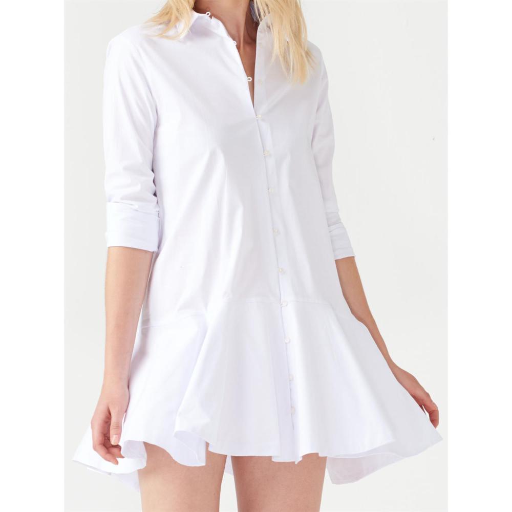 2019 Beyaz Etekleri Pileli Gömlek Elbise Modelleri
