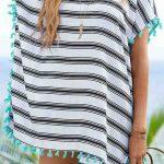Beyaz Üzeri Siyah Çizgili Pareo Plaj Elbisesi