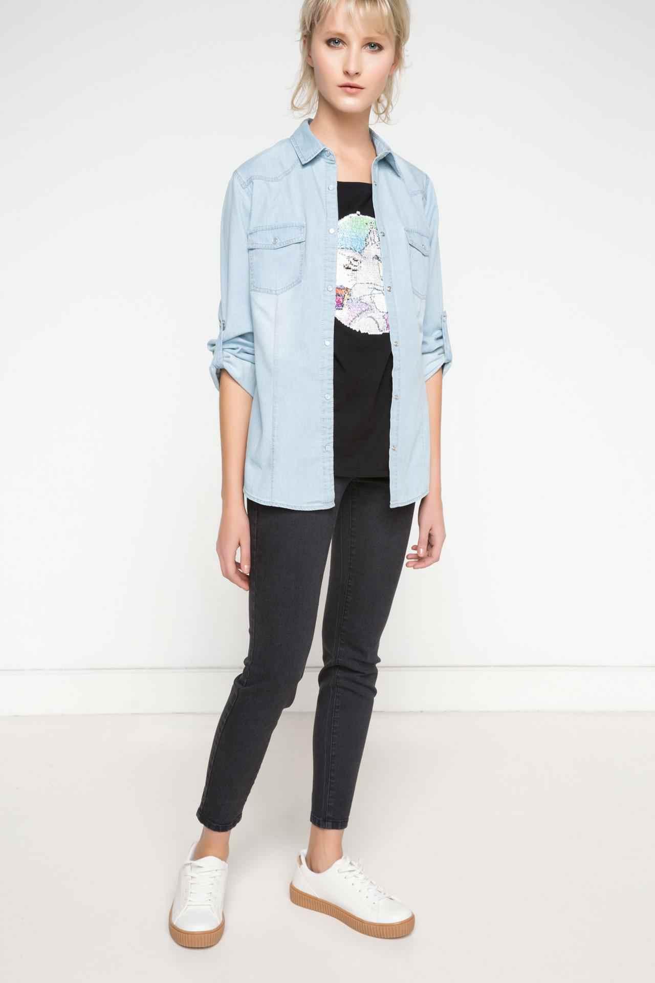 2017 Bahar Modası Denim Gömlek Kombinleri