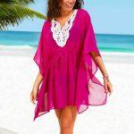Fuşya Yakası Dantel İşlemeli Transparan Plaj Elbisesi Pareo